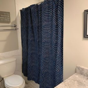 Blue And White Patterned Shower Curtain